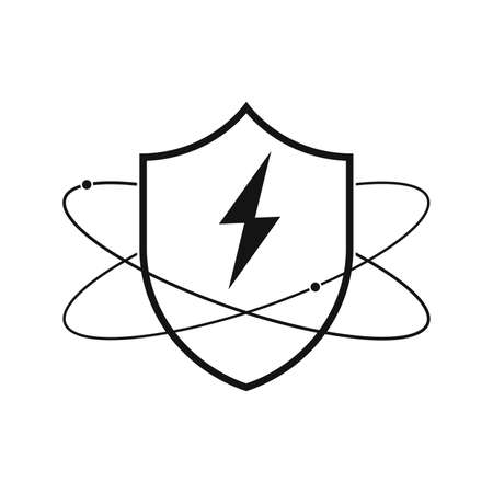 Shield with lightning. Linear shield icon. Vector illustration. Protection symbol