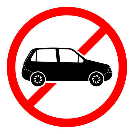Stop car sign. No car icon isolated. Red ban sign. Vector illustration. Forbidden car