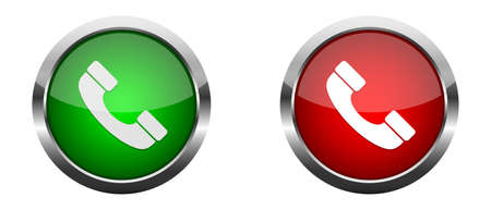 Accept and decline call. Red and green glossy buttons. Vector illustration. Phone call buttons Ilustração Vetorial