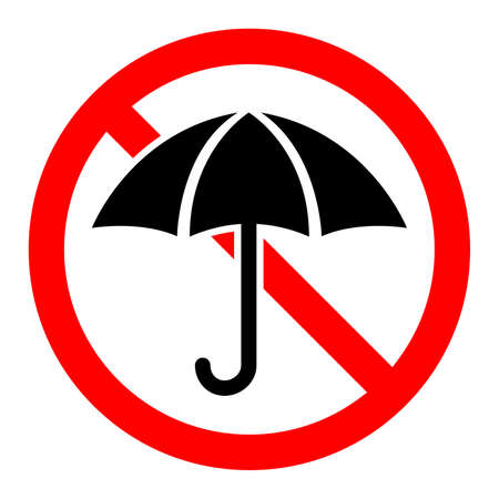Umbrella are forbidden. Stop umbrella icon. Vector illustration. No umbrella sign on white background.