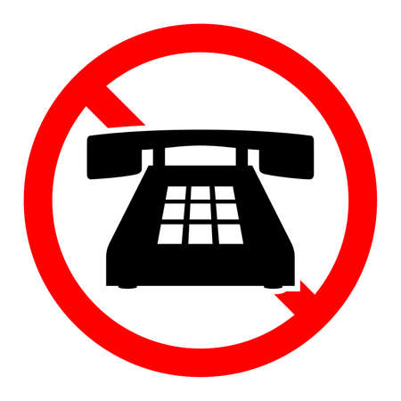 Stop phone sign. No phone sign isolated. Forbidden cell phone sign. Vector illustration.