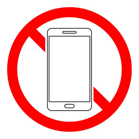 Stop phone sign. No smartphone sign on white background. Forbidden cell phone sign. Vector illustration.