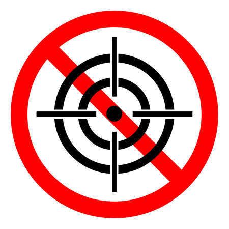 Hunting ban icon. Aiming is prohibited. Stop or ban red round sign with aim icon. Vector illustration. No aim icon.