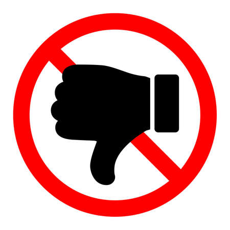 Thumb down is forbidden. Thumb down with ban icon. Dislike icon. Stop or ban red round sign with reject icon. Vector illustration.