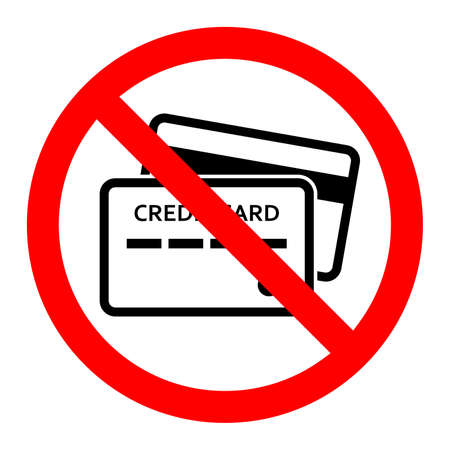 Credit card ban icon. Credit card are prohibited. Stop or ban red round sign with credit card icon. Vector illustration. Forbidden sign.