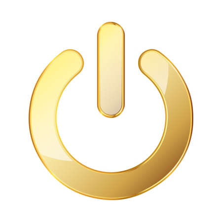 Power button. Gold vector illustration. Gold power button on white background. On and off icon