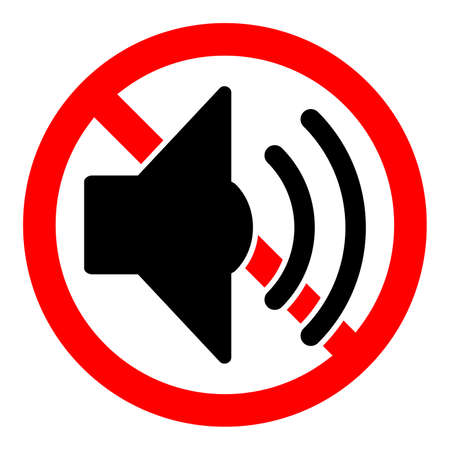 Volume sound ban icon. Loud sound is prohibited. Stop or ban red round sign with volume sound icon. Vector illustration. Forbidden sign.