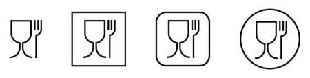 Food grade plastic. Set of linear vector signs. Food safe material. Wine glass and fork symbol