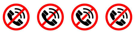 Stop phone sign. No phone. No phone sign isolated. Forbidden cell phone signs set. Vector illustration.