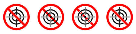 Hunting ban icon. Aiming is prohibited. Stop or ban red round sign with aim icon. Vector illustration. No aim icons set.