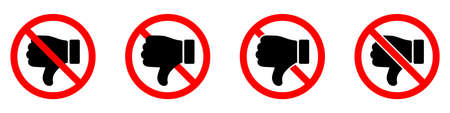Thumb down is forbidden. Thumb down with ban icon. Dislike icons set. Stop or ban red round sign with reject icon. Vector illustration.