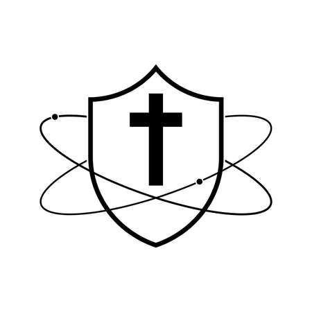 Shield with christian cross icon. Vector illustration. Religion protection symbol