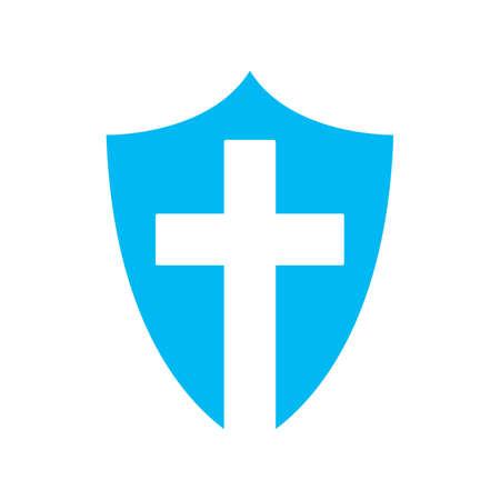 Shield icon. Black shield icon with christian cross symbol. Vector illustration. Conceptual religion icon.