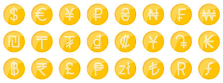Currency signs of different countries. Set of golden coins. World currency coins. Vector illustration. 向量圖像