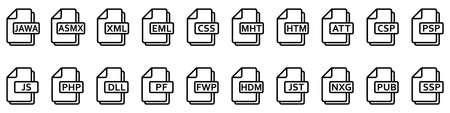 File formats icon. Various of different web files. File type icons. Vector illustration.