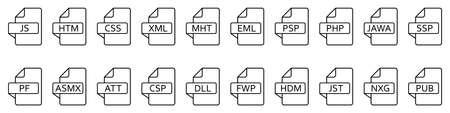 File formats icon. Various of different web files. File type icons. Vector illustration. Vektoros illusztráció