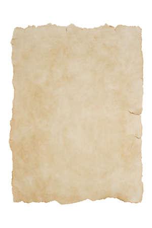 Altes Blatt Papier auf einem isolierten weißen Hintergrundmodell Standard-Bild