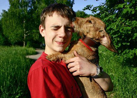 Teen and dog.