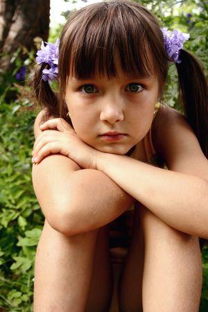Thoughtful dziewczyna Zdjęcie Seryjne