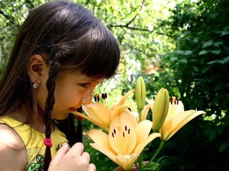 Girl and lily Stock Photo