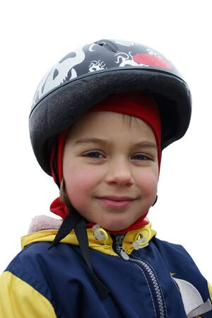 Smiling girl in a helmet. photo