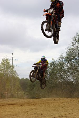 Two jumping bikers. Stock Photo - 593273