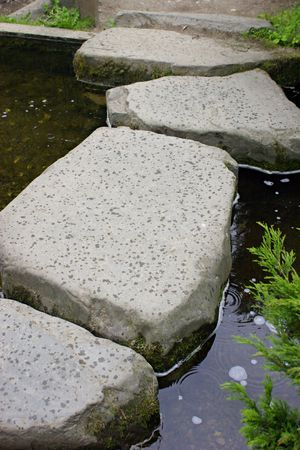 Line of stepping stones across stream. photo