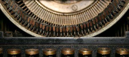 Ancient typewriter, close-up photo