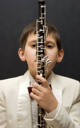 oboe: Young musician with oboe.