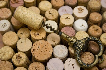 stoppers and old corkscrew. Stock Photo - 4148010