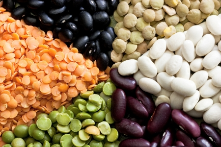 Multicolored mixed dried beans in the box Stock Photo