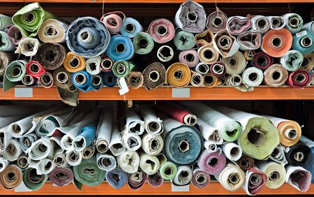 craft materials: Interior of a industrial warehouse with fabric rolls. Stock Photo