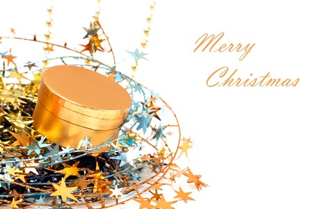 Gold Christmas decoration with gold gifts box. Stock Photo - 7997344