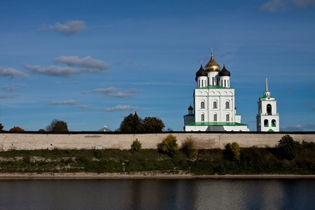 View on the Pskov Kremlin and Trinity Cathedral. photo