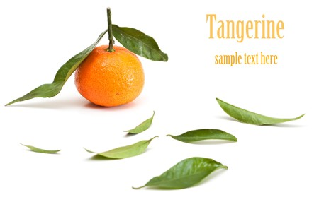pert: Tangerine with green leaves isolated on white. Stock Photo