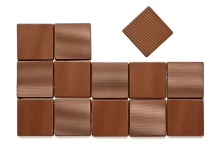 Pieces of chocolate on a white background photo