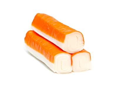 Crab sticks isolated on a white background.