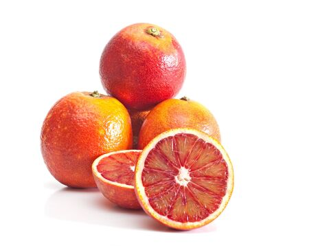 pert: Red oranges isolated on the white background.