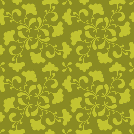 green seamless background with floral silhouette. Vector