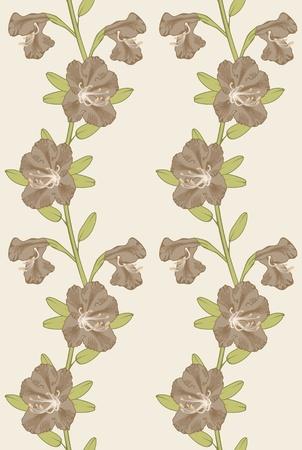 azal�e: Arri�re-plan transparent de vecteur beige avec des fleurs de ledum.