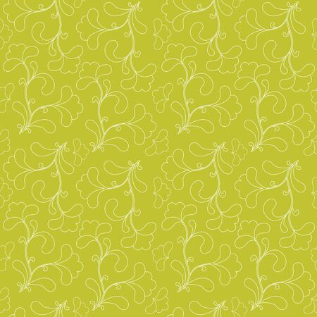 Vector green seamless background with floral pattern. Stock Vector - 9327403