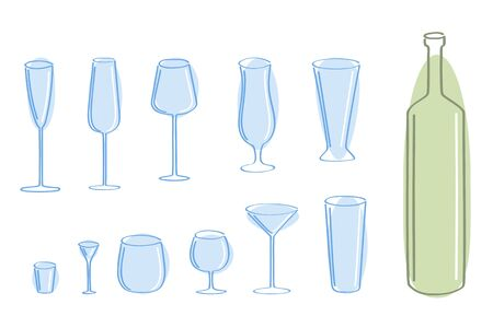 Vector set of blue glass and green bottle.  Vector