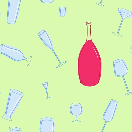 Vector seamless of blue glasses and red bottle.  Vector