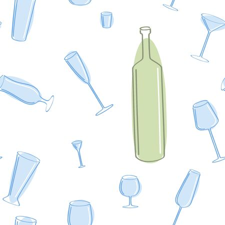Vector seamless of blue glass and green bottle. Vector