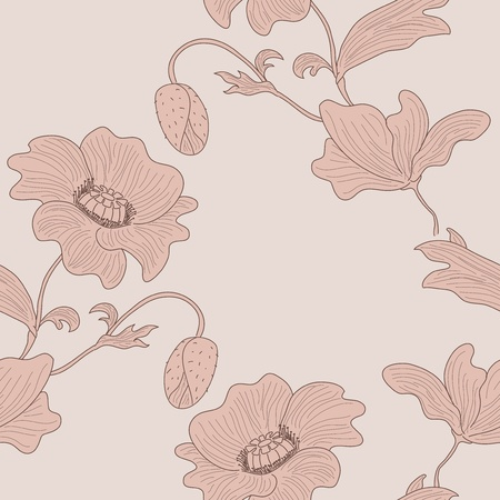 Vector seamless stylized pastel poppy background. Vector