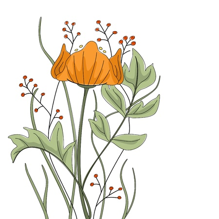 Vector hand drawn poppy with fantasy flowers and plants. Vector