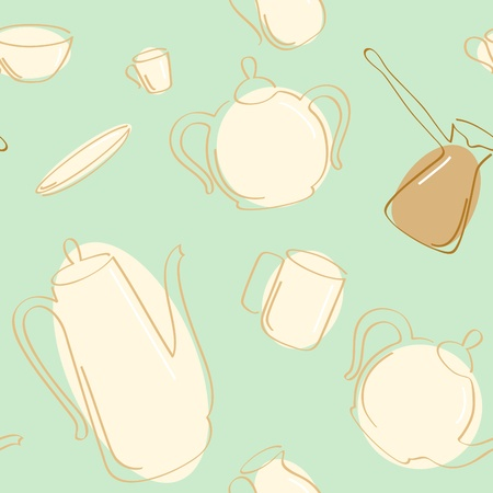 Vector seamless of coffee and tea pots with cups. Vector