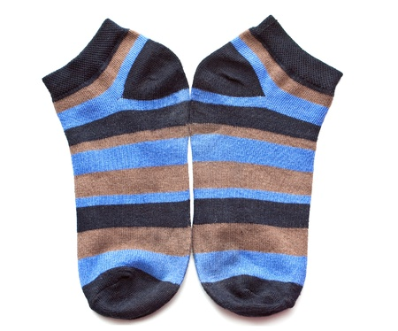 Pair of childs striped socks isolated on a white background.