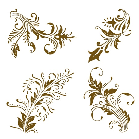 set of vintage color floral designs. Stock Vector - 9812002
