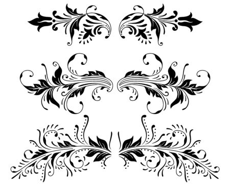 set of vintage color floral designs. Vector